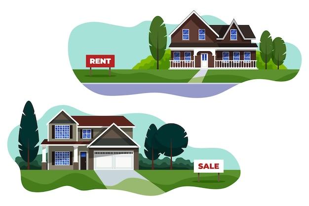 Casas diferentes para venda ou aluguel