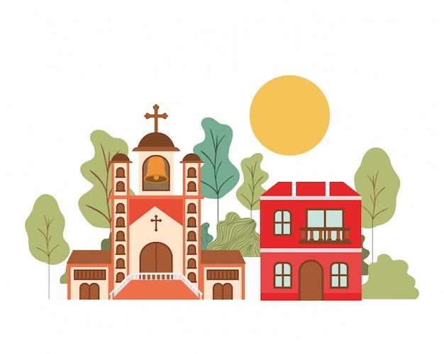 Casas do bairro na paisagem