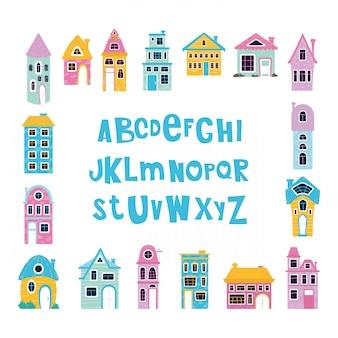 Casas dos desenhos animados ou casas e alfabeto, letras