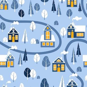 Casas e árvores na neve ilustração bonita e brilhante de natal em estilo escandinavo