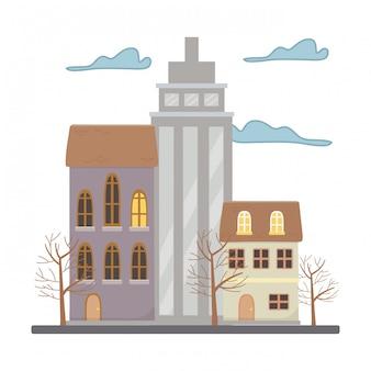 Casas e edifícios na cidade