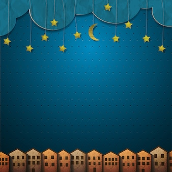 Casas e lua com estrelas de fundo de papel