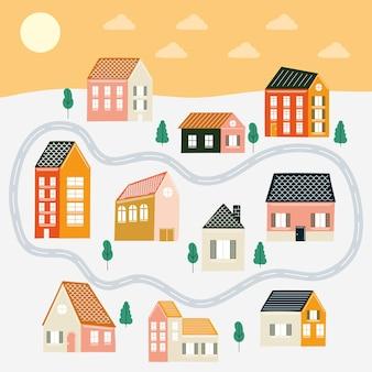 Casas e ruas em paisagismo, tema de construção de imóveis residenciais. ilustração vetorial