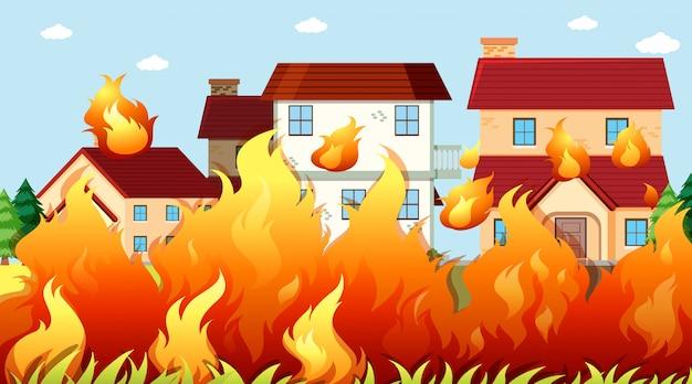 Casas em fundo de fogo