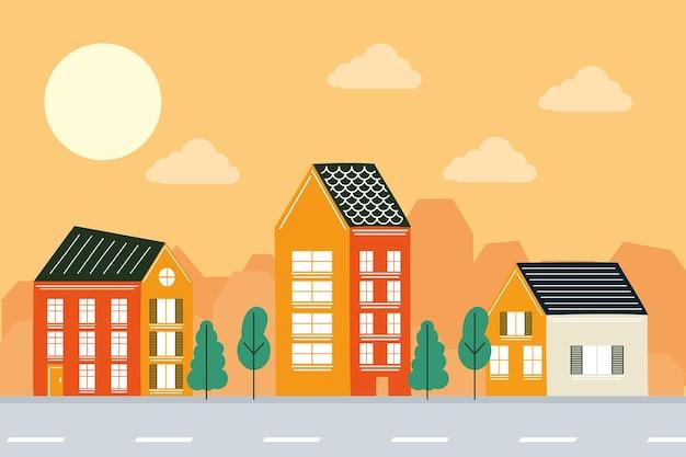 Casas em paisagismo, tema de construção de imóveis residenciais. ilustração vetorial