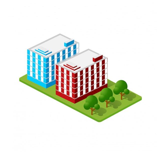 Casas isométricas, casas da cidade, arranha-céus e ruas