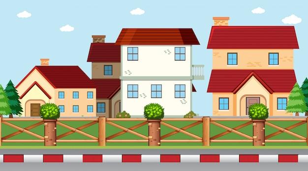 Casas, ligado, cena rua