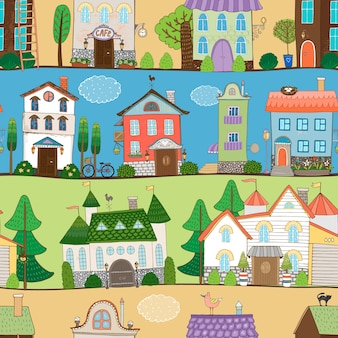 Casas lindas, castelos e design de estabelecimentos em diferentes ambientes