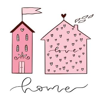 Casas lindas desenhadas à mão