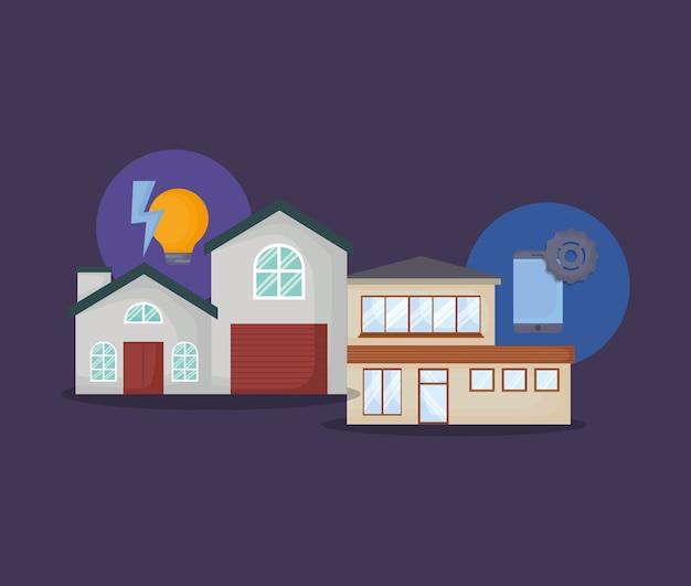 Casas modernas com ícones relacionados casa inteligente