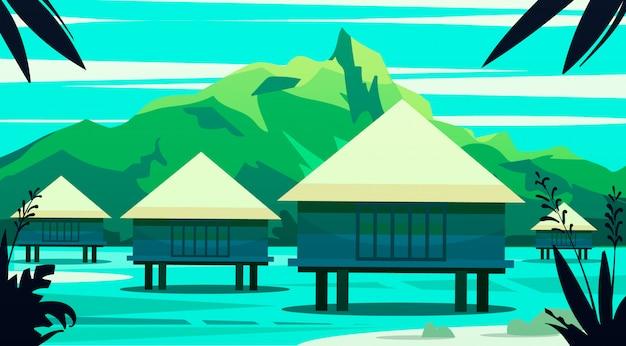 Casas na água, nas ilhas maldivas e bali. ilustração.