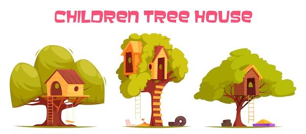 Casas na árvore entre ilustração de folhagem verde