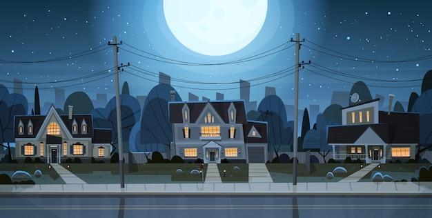 Casas, noturna, vista, subúrbio, grande, cidade
