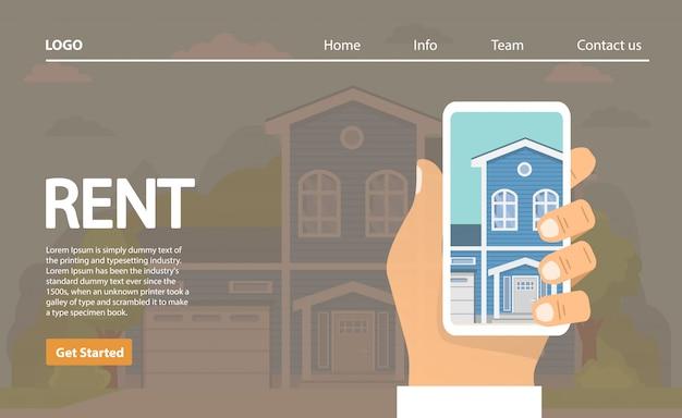 Casas para alugar. a mão mantém o smartphone a escolha da casa na aplicação. conceito de bens imobiliários.