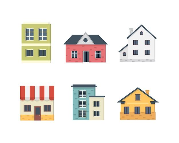 Casas particulares suburbanas. exterior da casa. conjunto de ícones de edifícios urbanos. Vetor Premium