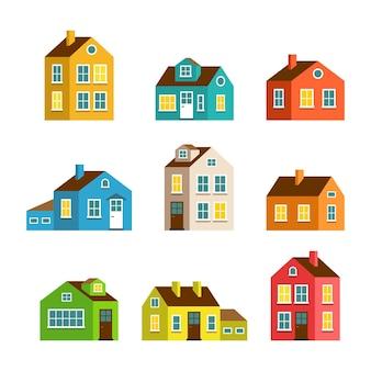Casas planas pequenas e grandes dos desenhos animados.