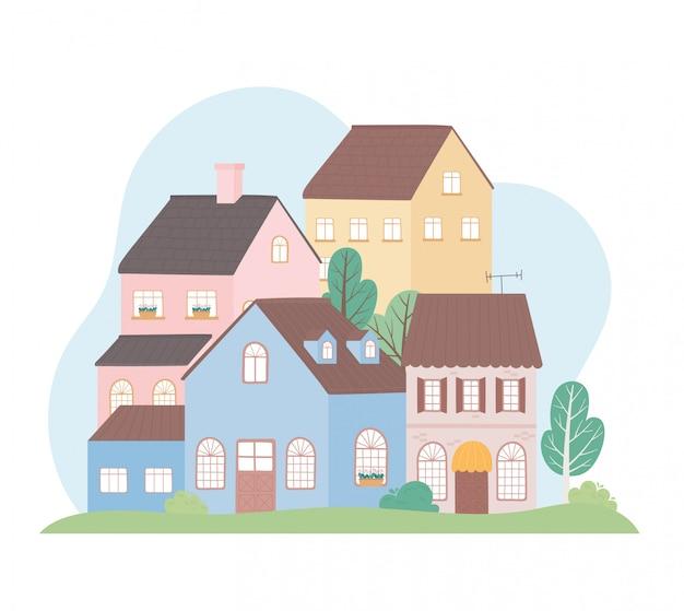 Casas residenciais bairro arquitetura propriedade construção árvores ilustração