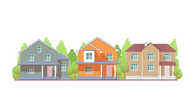 Casas residenciais coloridas de vista frontal