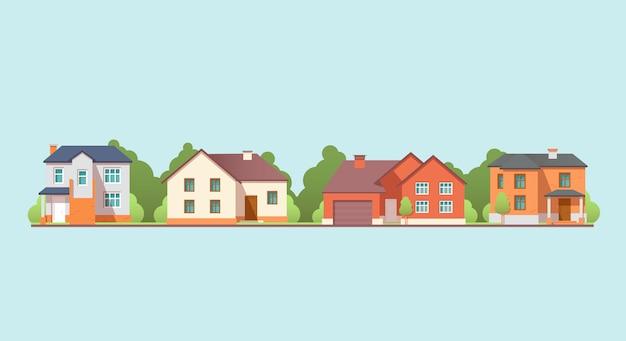 Casas residenciais coloridas.