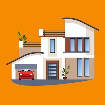 Casas residenciais planas coloridas