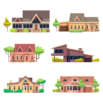 Casas residenciais privadas cottage definido. ilustração em vetor plana colorida coleção de casa de construção de casa de campo