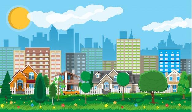 Casas suburbanas privadas com carro