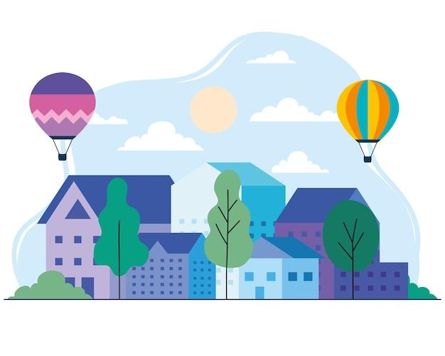 Casas urbanas com balões de ar quente, árvores, sol e nuvens, design, arquitetura e tema urbano