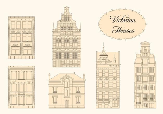 Casas vintage vitorianas em esquema monocromático
