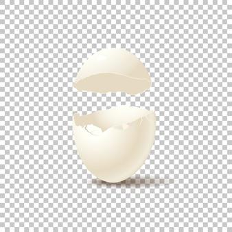 Casca de ovo quebrada isolada em fundo transparente
