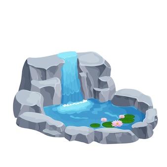 Cascata com lago de pedras e flores de lírio em estilo cartoon
