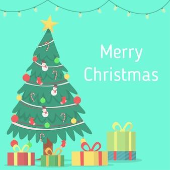 Case cristmas com uma lâmpada suspensa, uma árvore de natal e um fundo de caixa de presente