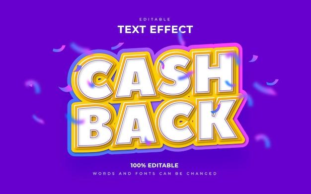 Cashback 3d com efeito de texto editável e confete caindo