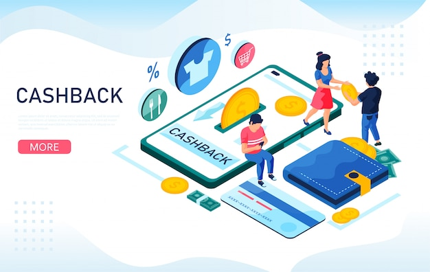 Cashback dinheiro, conceito isométrico de serviço on-line. smartphone, dinheiro de reembolso, cartão de crédito. ilustração isométrica