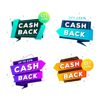 Cashback etiquetas design plano em cores