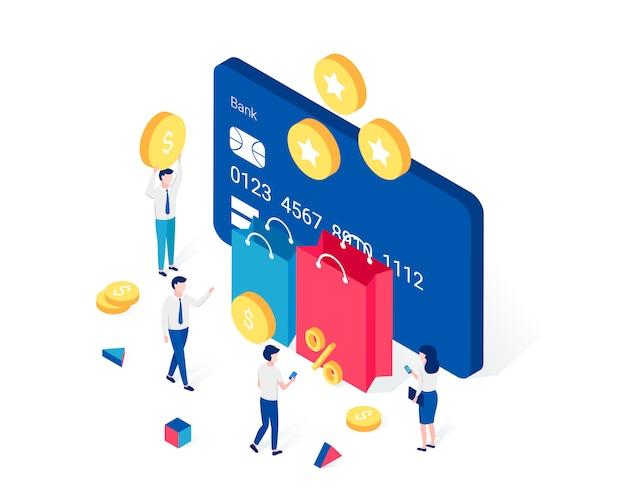 Cashback, recompensas e conceito isométrico de programa de fidelidade.