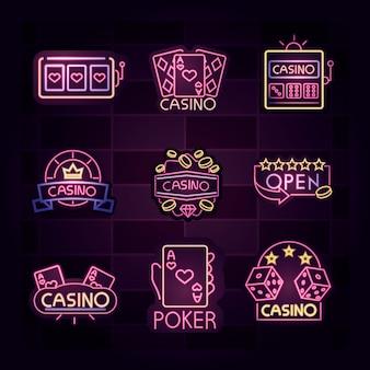Casino, banner luminoso, outdoor, letreiro luminoso de néon para publicidade de jogos de azar