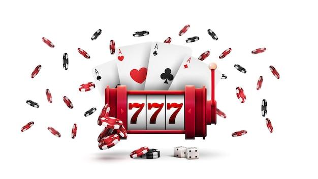 Casino caça-níqueis vermelho com fichas de pôquer e cartas de jogar, isoladas no fundo branco. grande vitória na máquina caça-níqueis