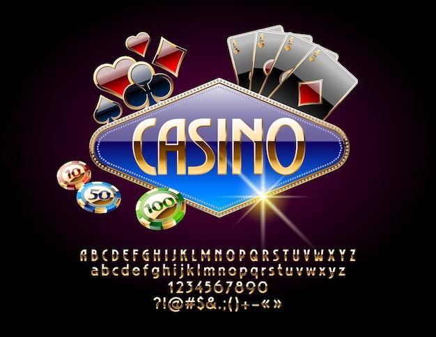 Casino com cores de cartas e fichas. conjunto de letras, números e símbolos do alfabeto real dourado