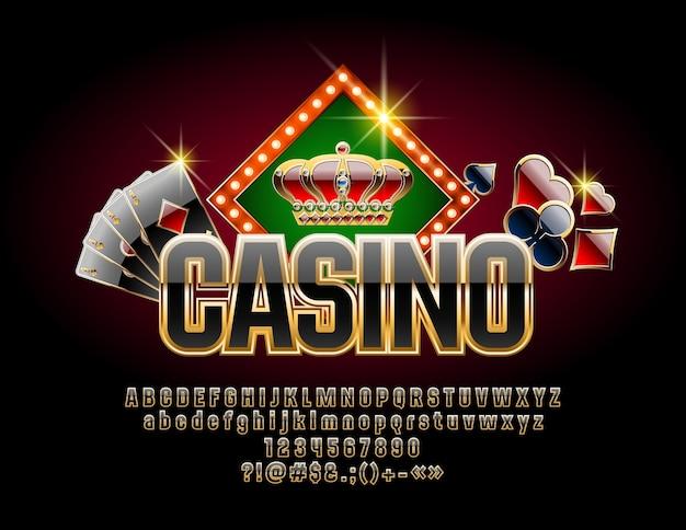 Casino com fonte de luxo. conjunto de letras, números e símbolos pretos e dourados