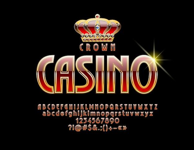 Casino com fonte vermelha e dourada. conjunto de letras, números e símbolos do alfabeto real