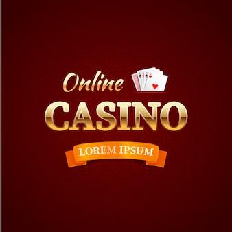 Casino - conceito de logotipo, tipografia de cassino online, cartões de jogo com o texto de ouro em vermelho escuro