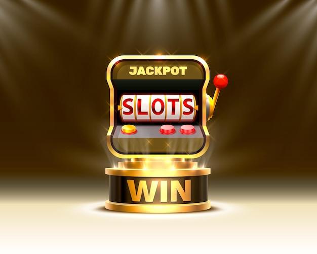 Casino de banner dourado slots 777 no fundo da cena.