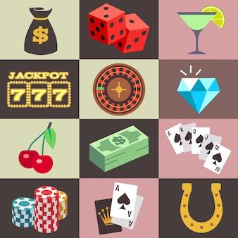 Casino de jogo, vetor do jackpot do dinheiro da vitória. conjunto de ícone para jogo de azar, ilustração de dados ec