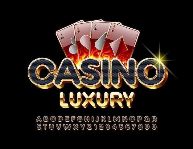 Casino de luxo. fonte 3d elegante. letras e números do alfabeto preto e dourado chique