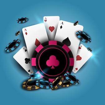 Casino de poker com cartas e fichas