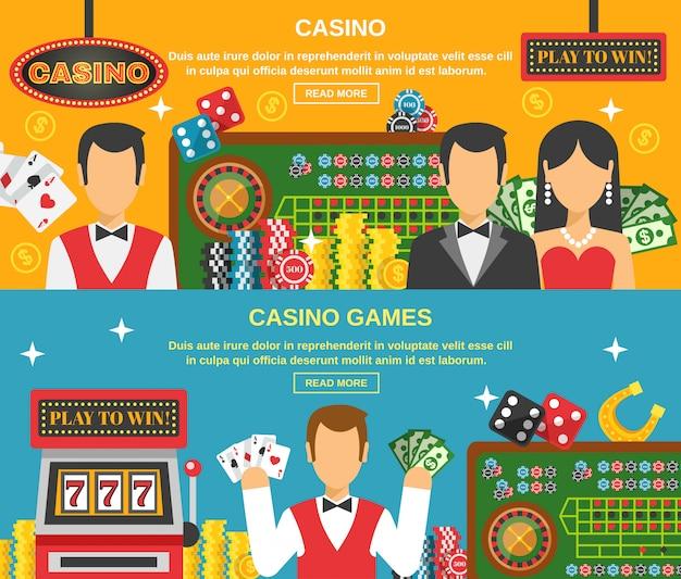Casino e conjunto de banners de jogo