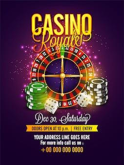 Casino flyer com roleta, fichas de poker e dados.