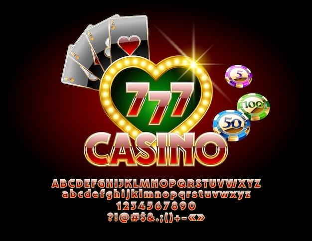 Casino golden chic sign com fonte. conjunto de poker luxo de ilustração com letras do alfabeto