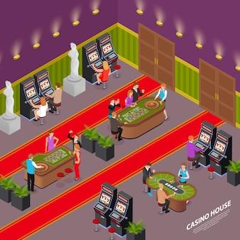 Casino isométrico com pessoas