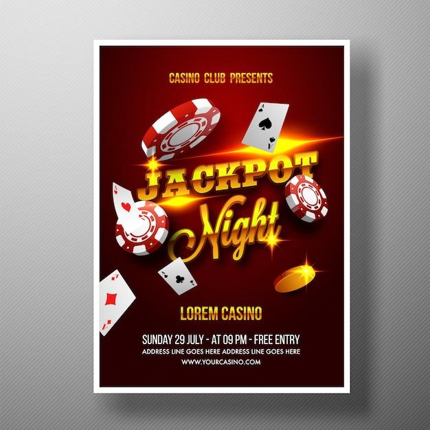 Casino jackpot night flyer, modelo ou banner.